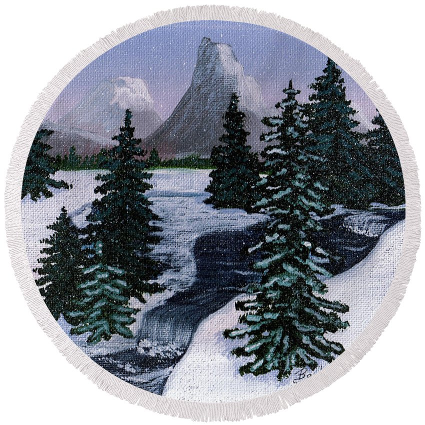 Barbara Griffin Round Beach Towel featuring the painting Cold Mountain Brook by Barbara Griffin