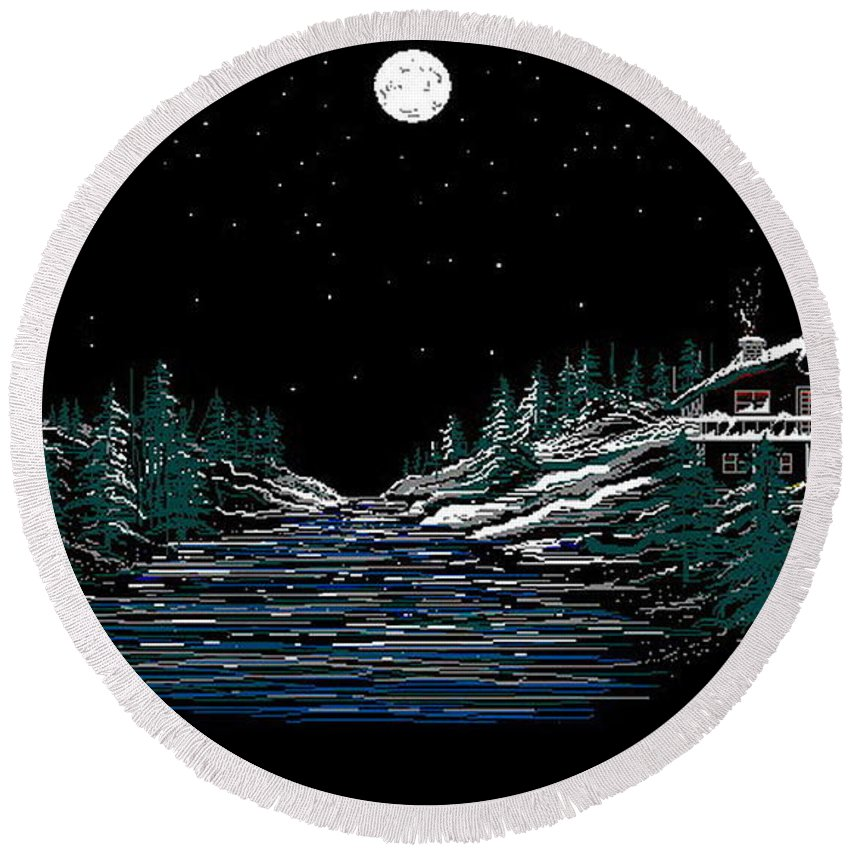 Cold Mountain Winter Round Beach Towel featuring the digital art Cold Mountain Winter by Larry Lehman