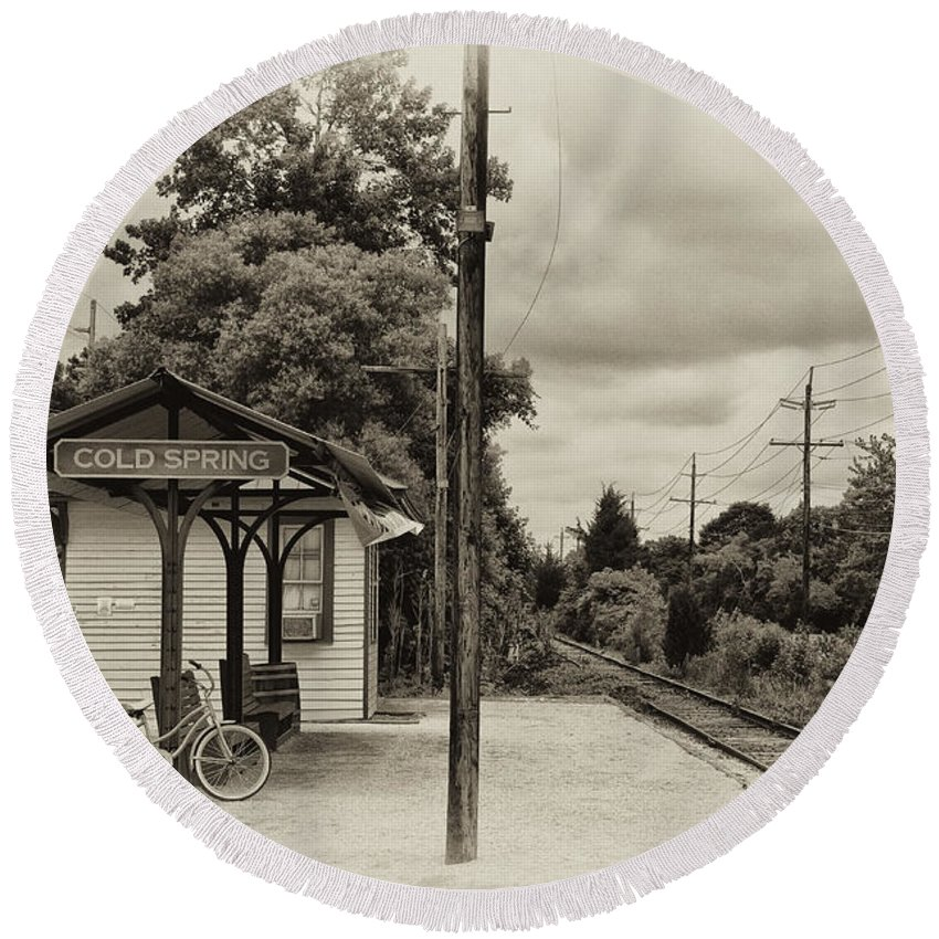 Cold Round Beach Towel featuring the photograph Cold Spring Train Station In Sepia by Bill Cannon