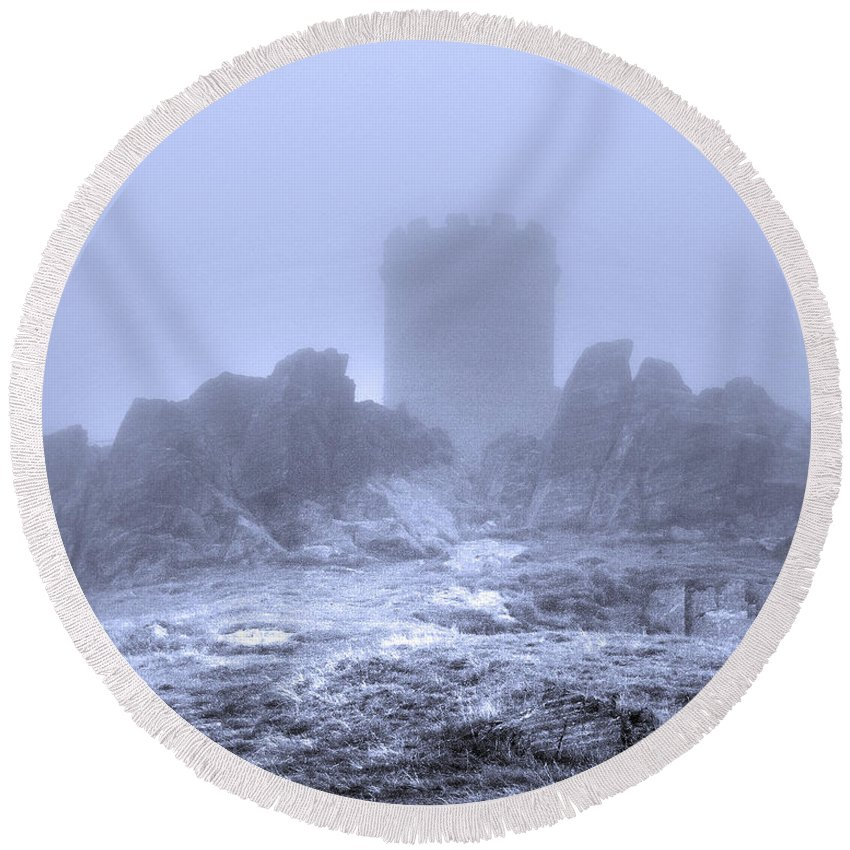 Turrets Round Beach Towel featuring the photograph Cold Tower Of Mist by Linsey Williams