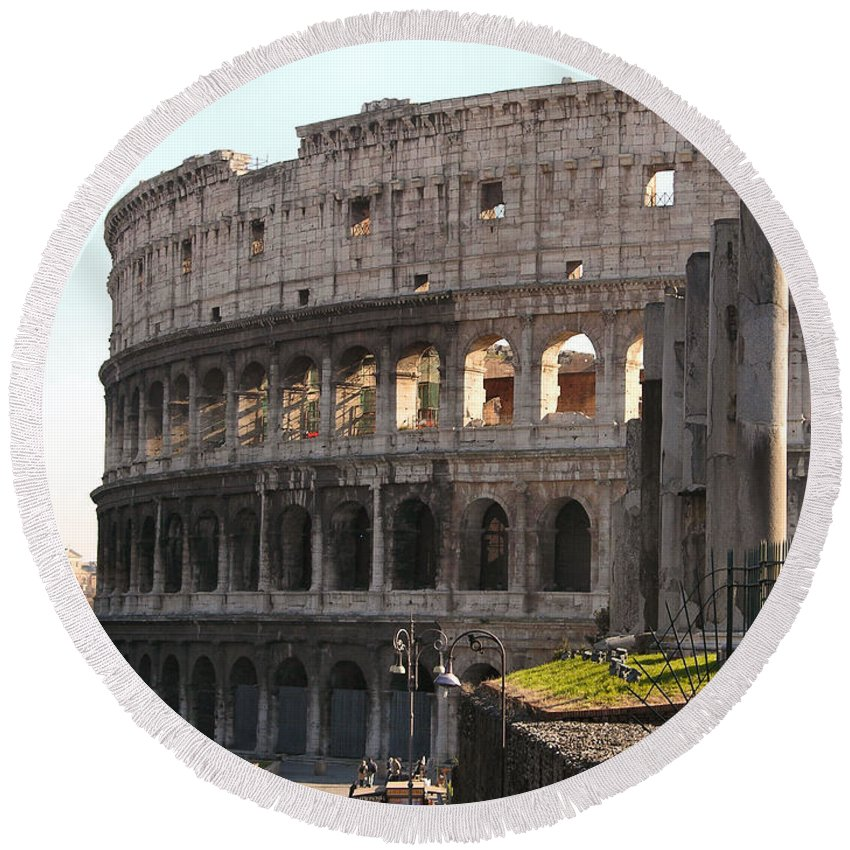 Coliseum Round Beach Towel featuring the photograph Colosseum by Louis Yamonico