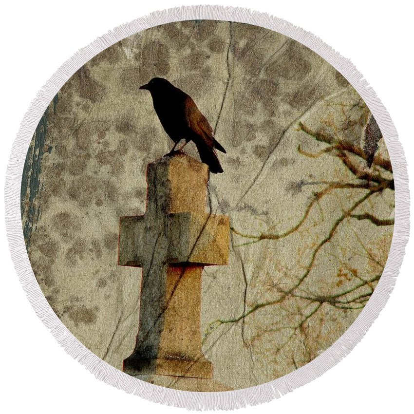 Crow On Cross Round Beach Towel featuring the digital art Collage Of Crow by Gothicrow Images