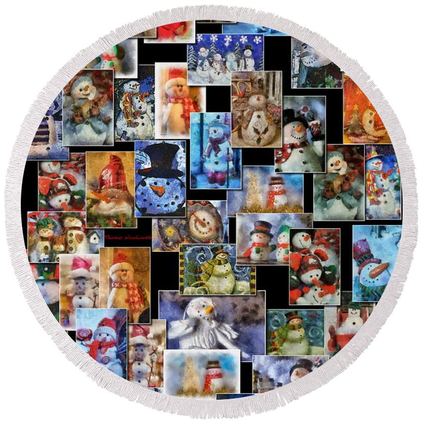 Winter Round Beach Towel featuring the photograph Collage Snowman Vertical Photo Art by Thomas Woolworth