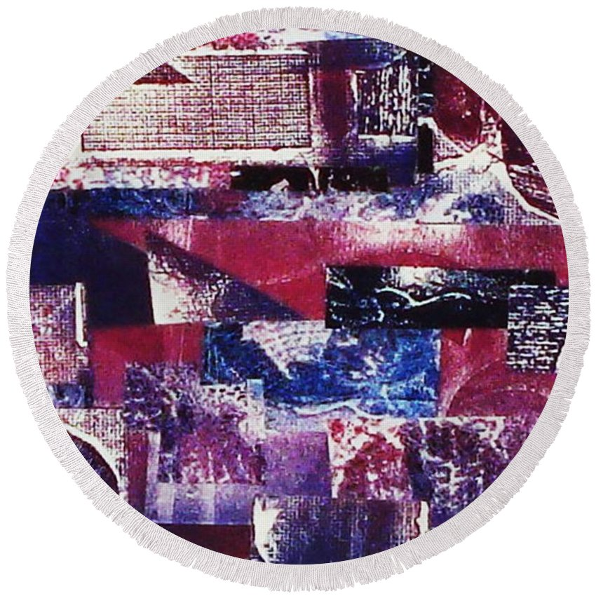 Print Making Round Beach Towel featuring the relief Collage by Yael VanGruber