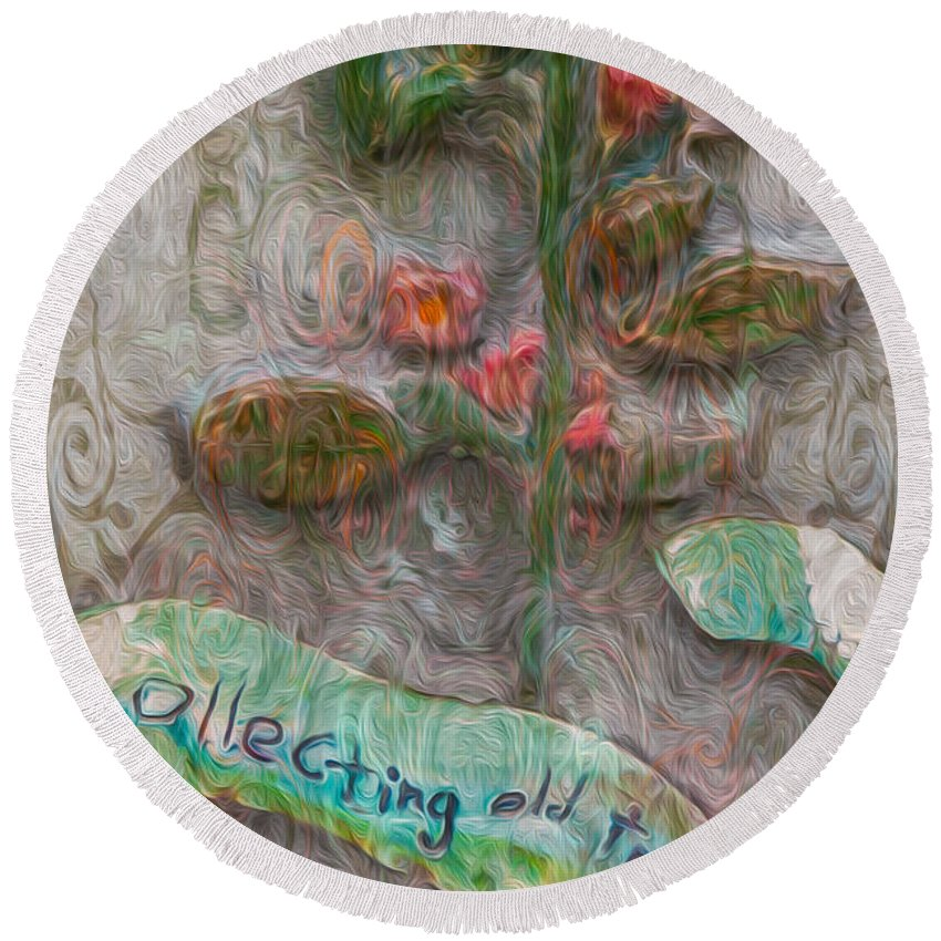 Georgia Okeefe Round Beach Towel featuring the painting Collecting Old Trees by Omaste Witkowski