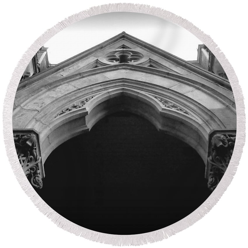 Joseph Skompski Round Beach Towel featuring the photograph College Hall Entry - Black And White by Joseph Skompski