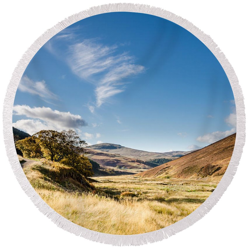 Northumberland Round Beach Towel featuring the photograph College Valley And Lambden Burn by David Head