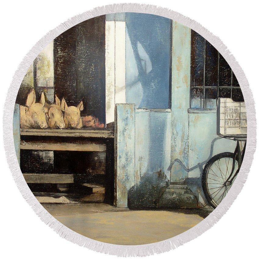 Colmado Round Beach Towel featuring the painting Colmado-Havana by Tomas Castano