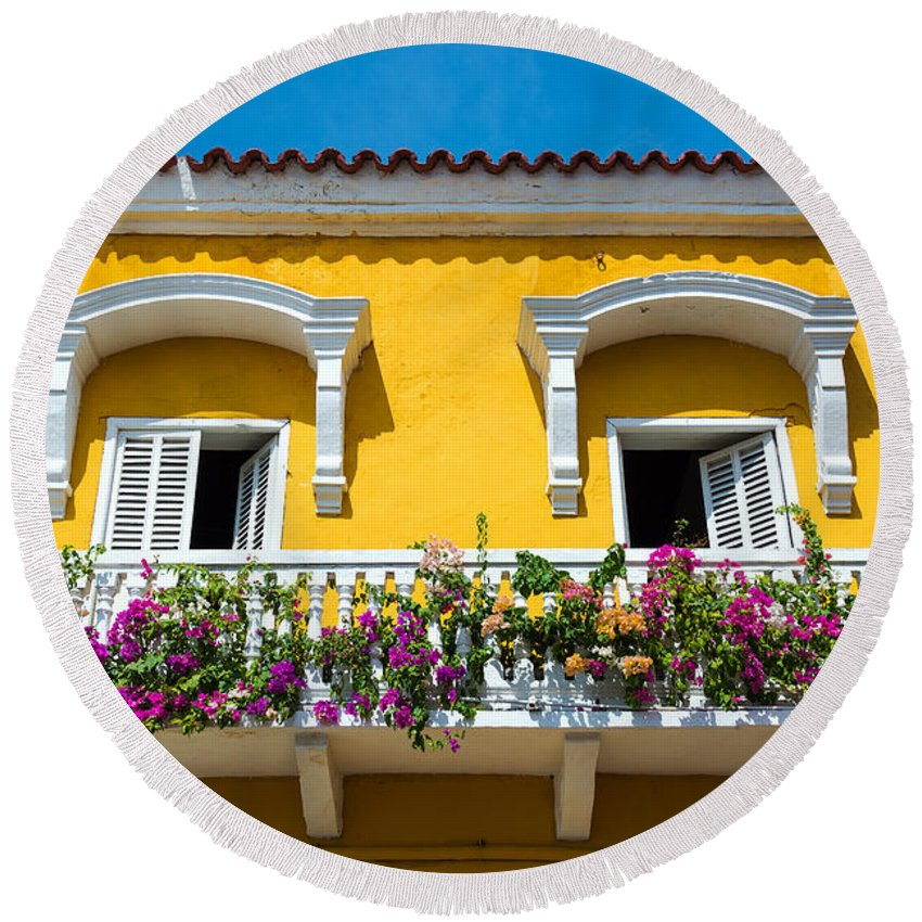 Cartagena Round Beach Towel featuring the photograph Colonial Balcony In Cartagena by Jess Kraft