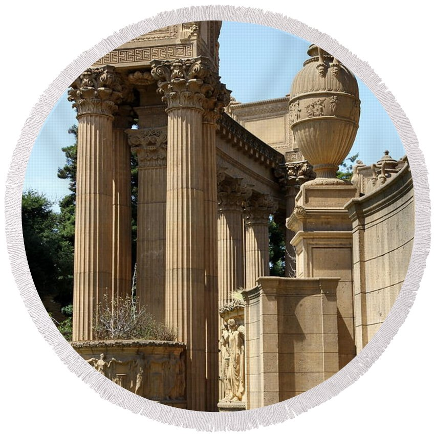 Palace Of Fine Arts Round Beach Towel featuring the photograph Colonnades Palaces Of Fine Arts by Christiane Schulze Art And Photography