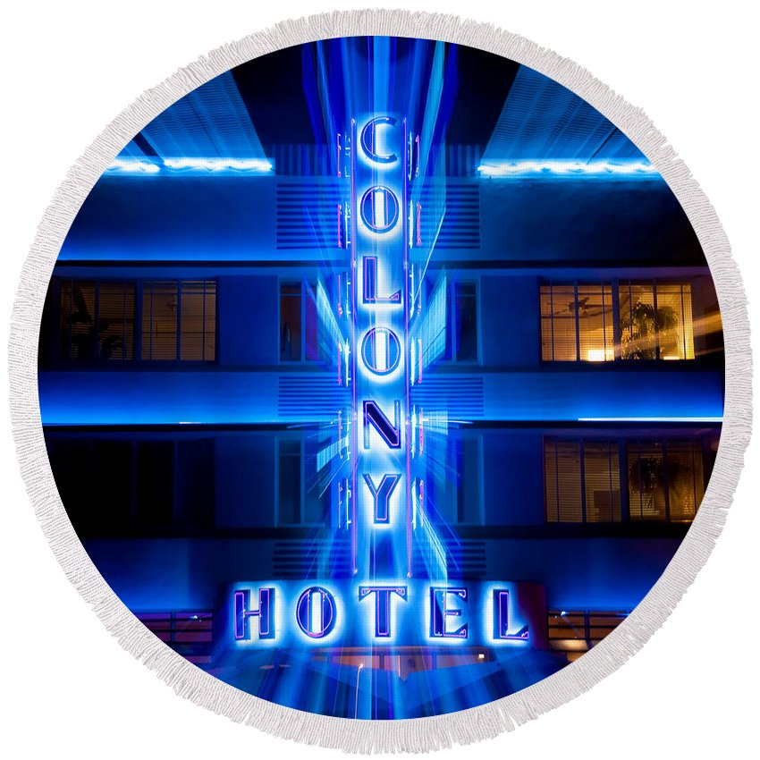 Colony Hotel Round Beach Towel featuring the photograph Colony Hotel 2 by Dave Bowman