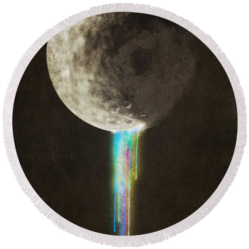 Moon Round Beach Towel featuring the digital art Color Bleed by Eric Fan