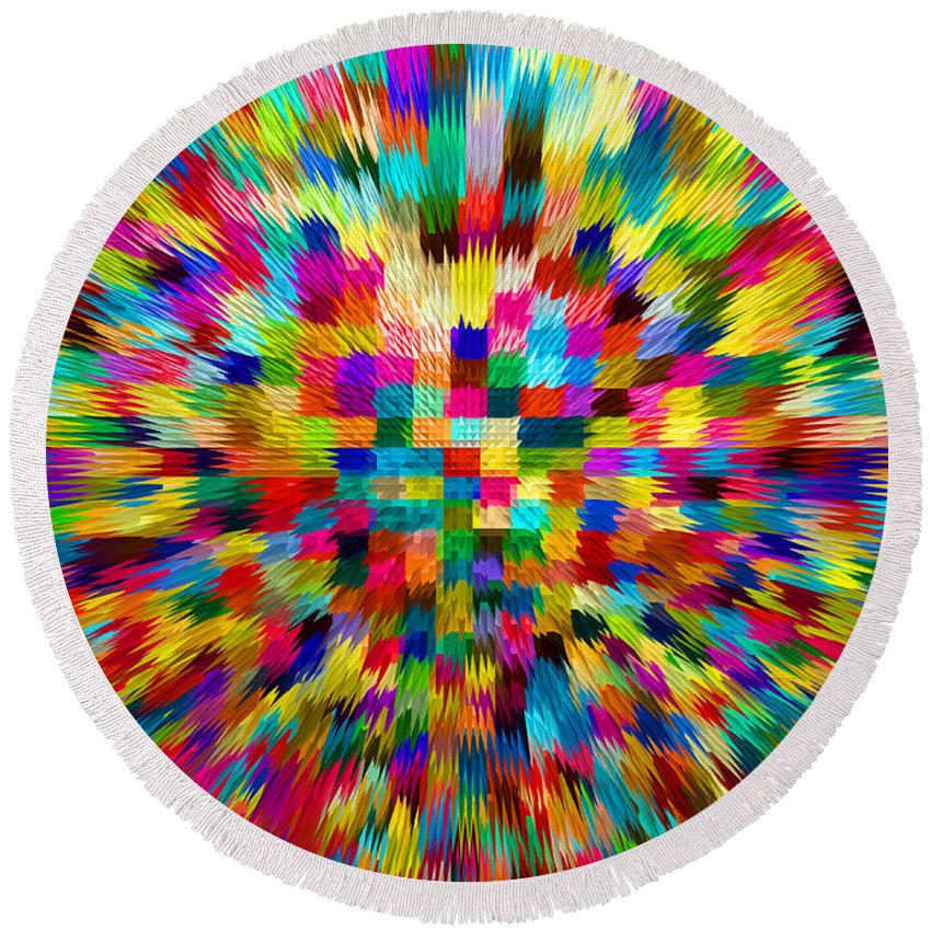 Waves Round Beach Towel featuring the digital art Color Explosion I by Alys Caviness-Gober