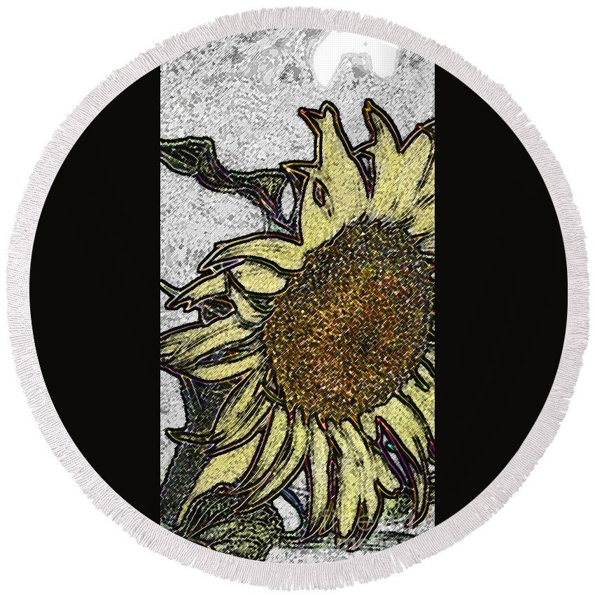 Digital Art Round Beach Towel featuring the digital art Color Me Sunflower by Elaine Berger