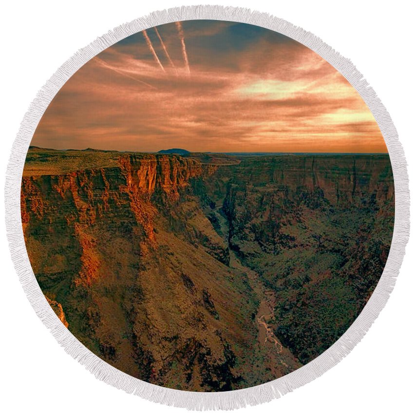 Color Round Beach Towel featuring the photograph Color Of The Grand Canyon South Rim V8 by Douglas Barnard
