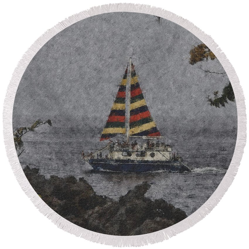 Sailboat Round Beach Towel featuring the photograph Color Of The Sails by Douglas Barnard