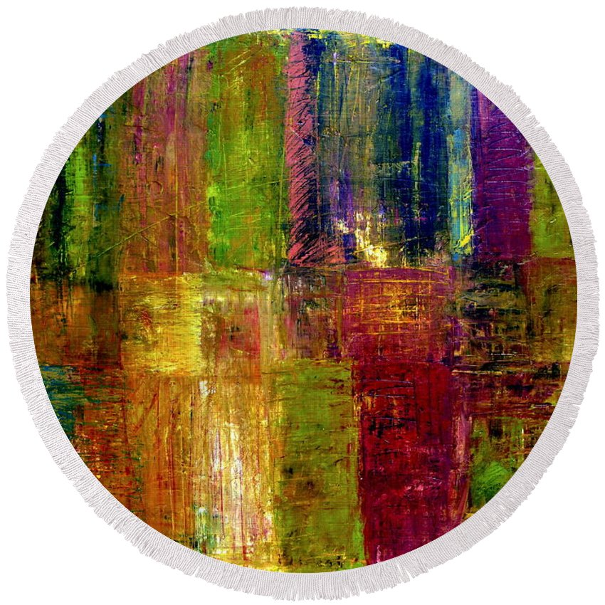 Abstract Round Beach Towel featuring the painting Color Panel Abstract by Michelle Calkins