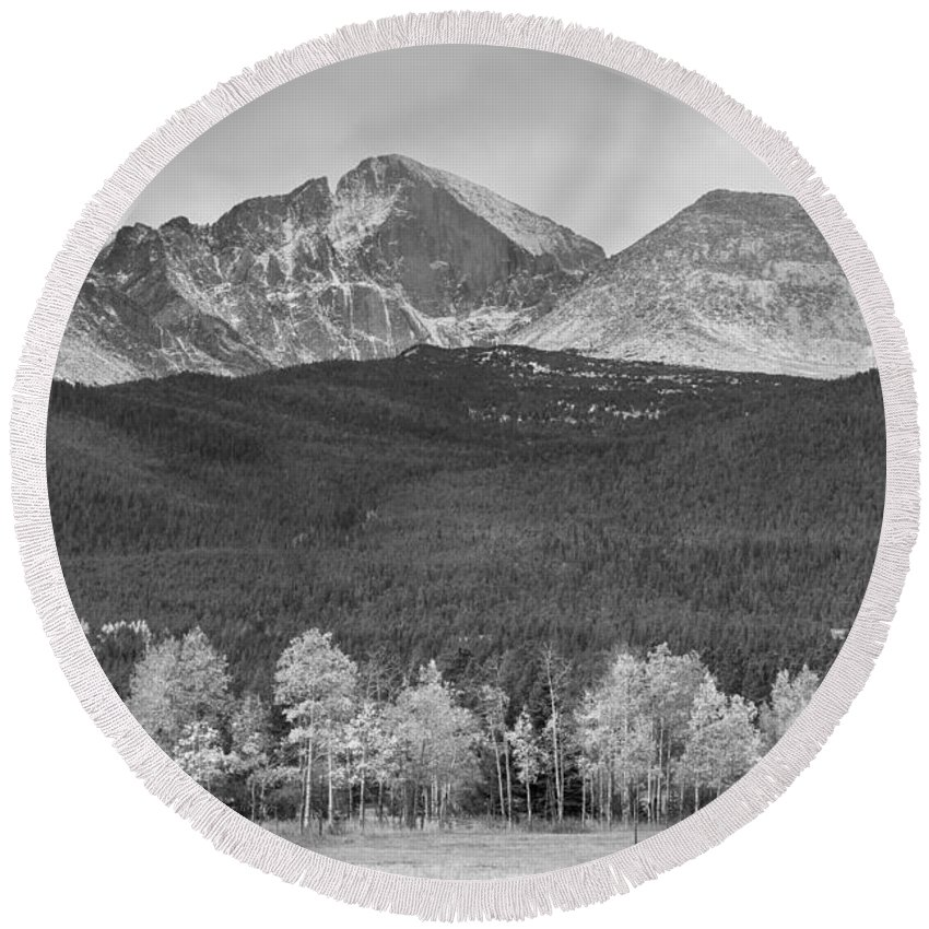 Colorado Round Beach Towel featuring the photograph Colorado America's Playground In Black And White by James BO Insogna