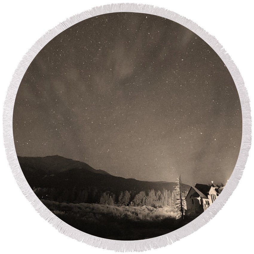 Chapel On The Rock Round Beach Towel featuring the photograph Colorado Chapel On The Rock Dreamy Night Sepia Sky by James BO Insogna