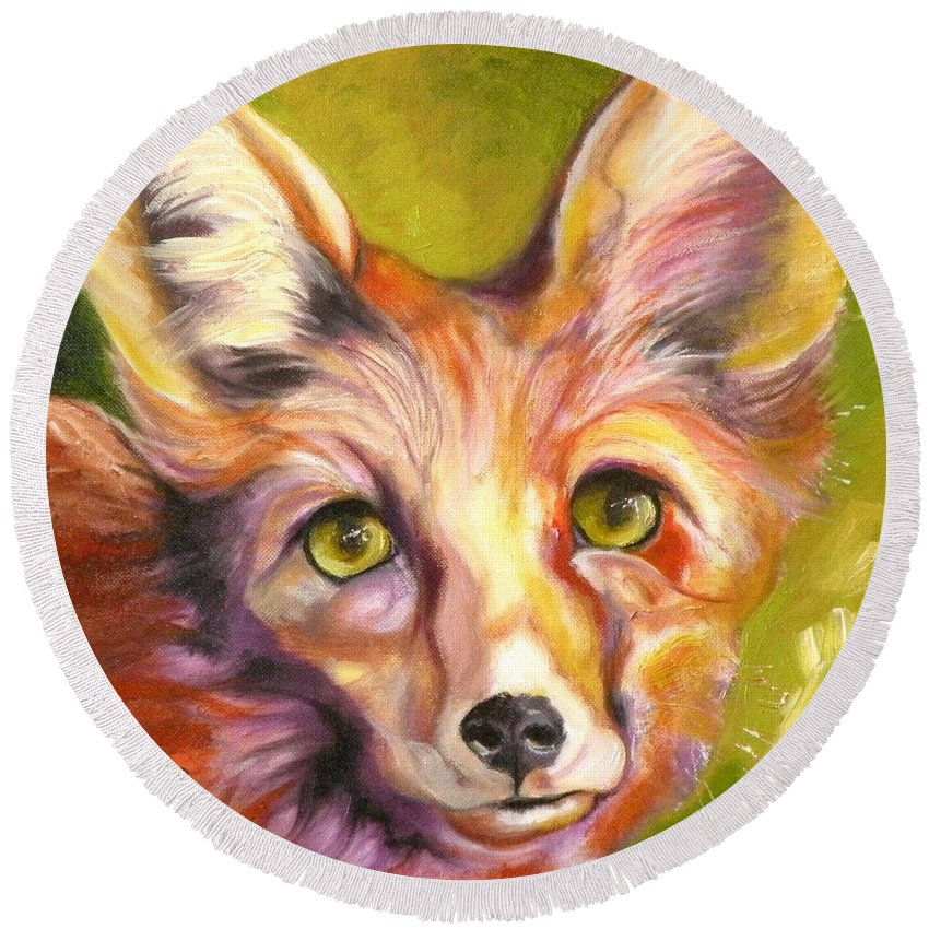 Oil Painting Round Beach Towel featuring the painting Colorado Fox by Susan A Becker