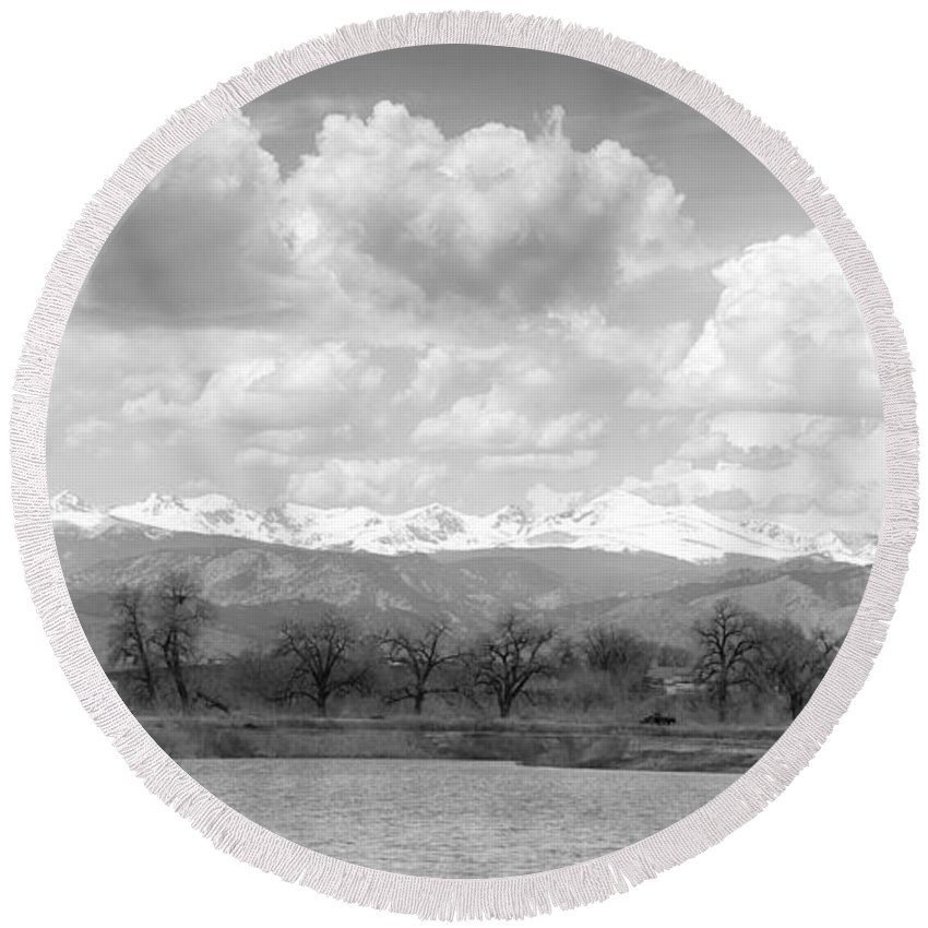Trees Round Beach Towel featuring the photograph Colorado Front Range Rocky Mountains Panorama Bw by James BO Insogna