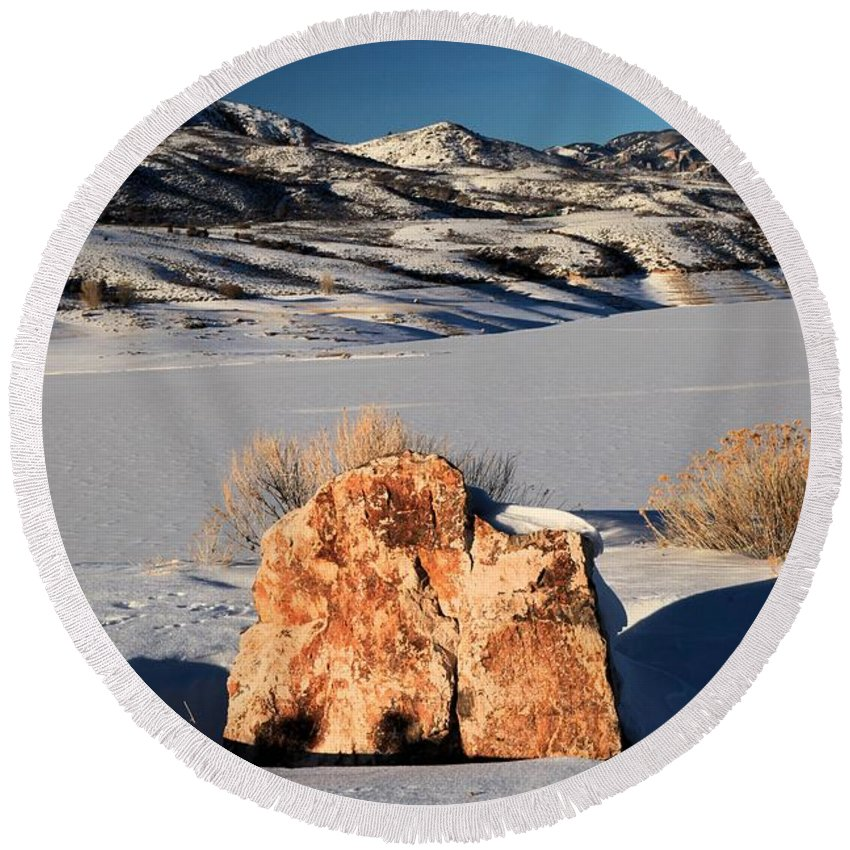 Blue Mesa Reservoir Round Beach Towel featuring the photograph Colorado Glow by Adam Jewell