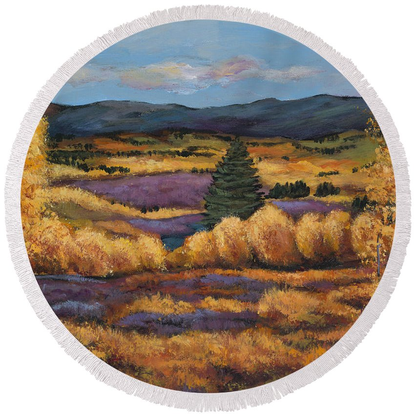 Autumn Aspen Round Beach Towel featuring the painting Colorado by Johnathan Harris