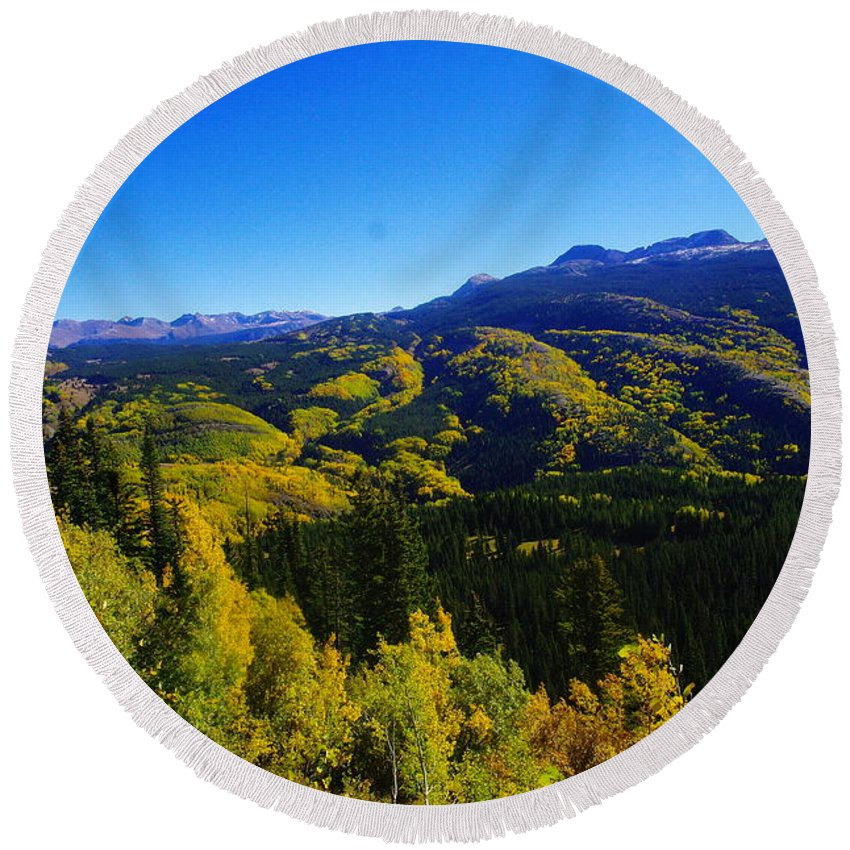 Mountains Round Beach Towel featuring the photograph Colorado Landscape by Jeff Swan