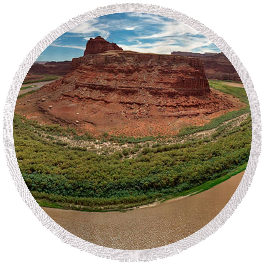 3scape Photos Round Beach Towel featuring the photograph Colorado River Gooseneck by Adam Romanowicz
