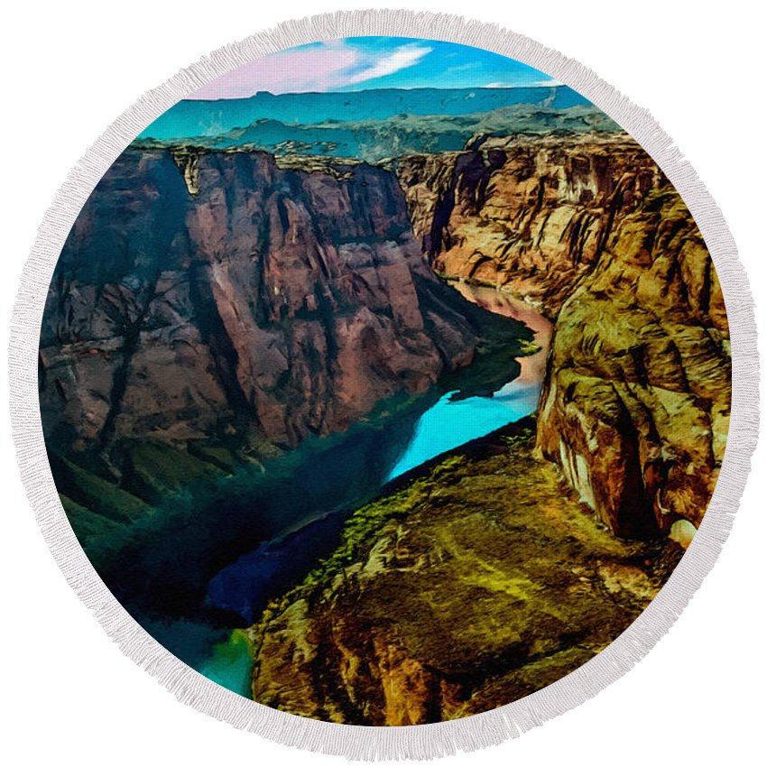 Grand Canyon Round Beach Towel featuring the painting Colorado River Grand Canyon by Bob and Nadine Johnston