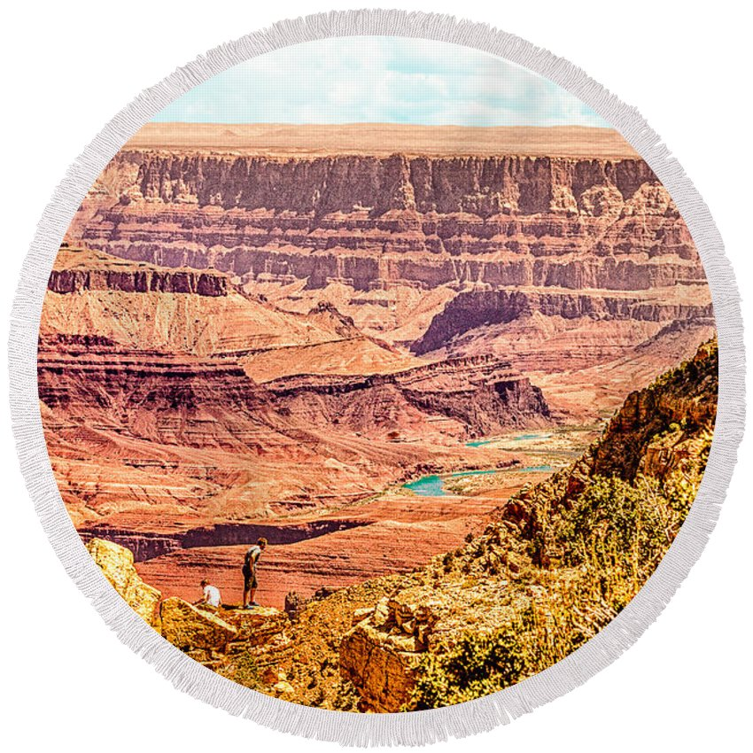 Grand Canyon Round Beach Towel featuring the photograph Colorado River One Mile Below And 18 Miles Across The Grand Canyon by Bob and Nadine Johnston