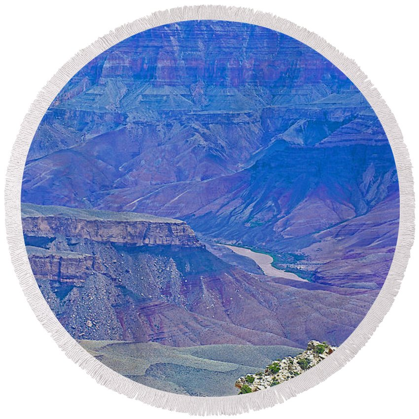 Colorado River Two At Cape Royal On North Rim/grand Canyon National Park Round Beach Towel featuring the photograph Colorado River Two At Cape Royal On North Rim Of Grand Canyon-arizona by Ruth Hager