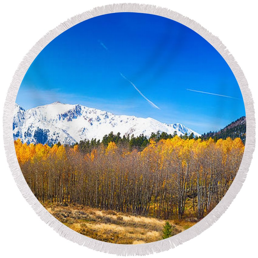 Snow Round Beach Towel featuring the photograph Colorado Rocky Mountain Independence Pass Autumn Pano 1 by James BO Insogna