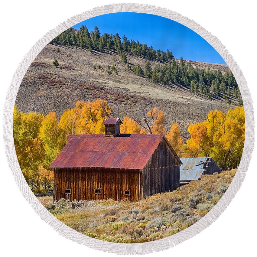 Agriculture Round Beach Towel featuring the photograph Colorado Rustic Rural Barn With Autumn Colors by James BO Insogna