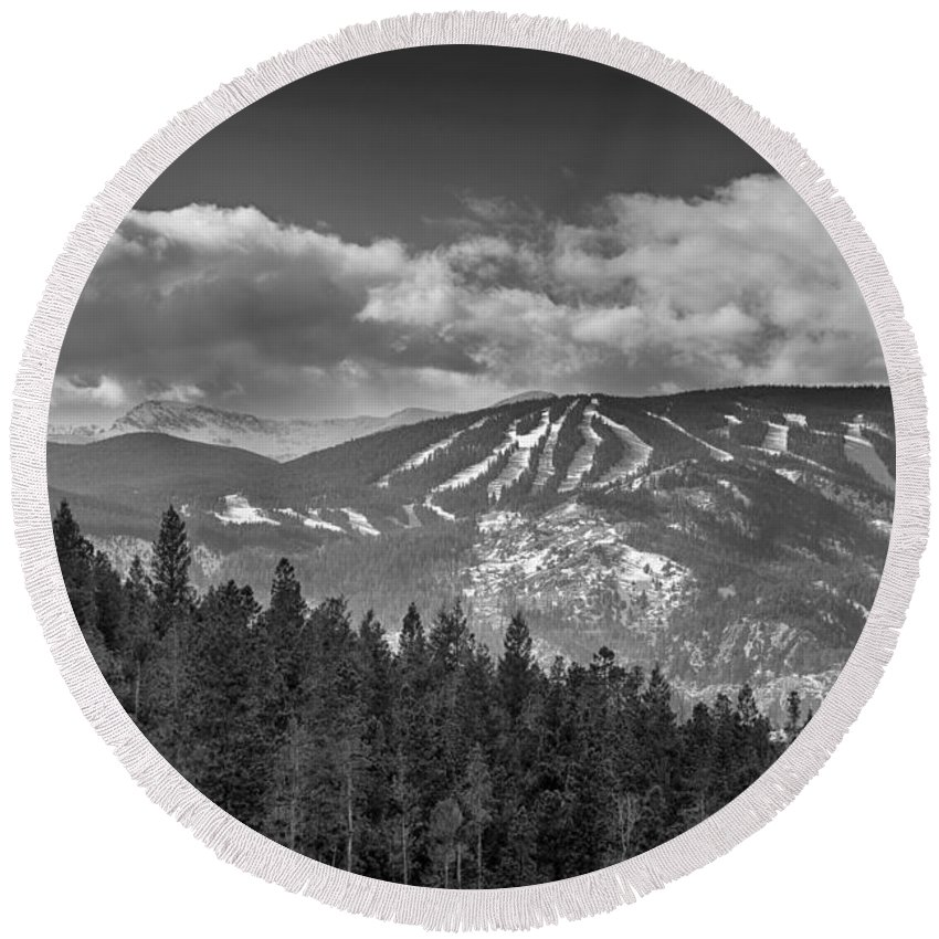 Ski Round Beach Towel featuring the photograph Colorado Ski Slopes In Black And White by James BO Insogna