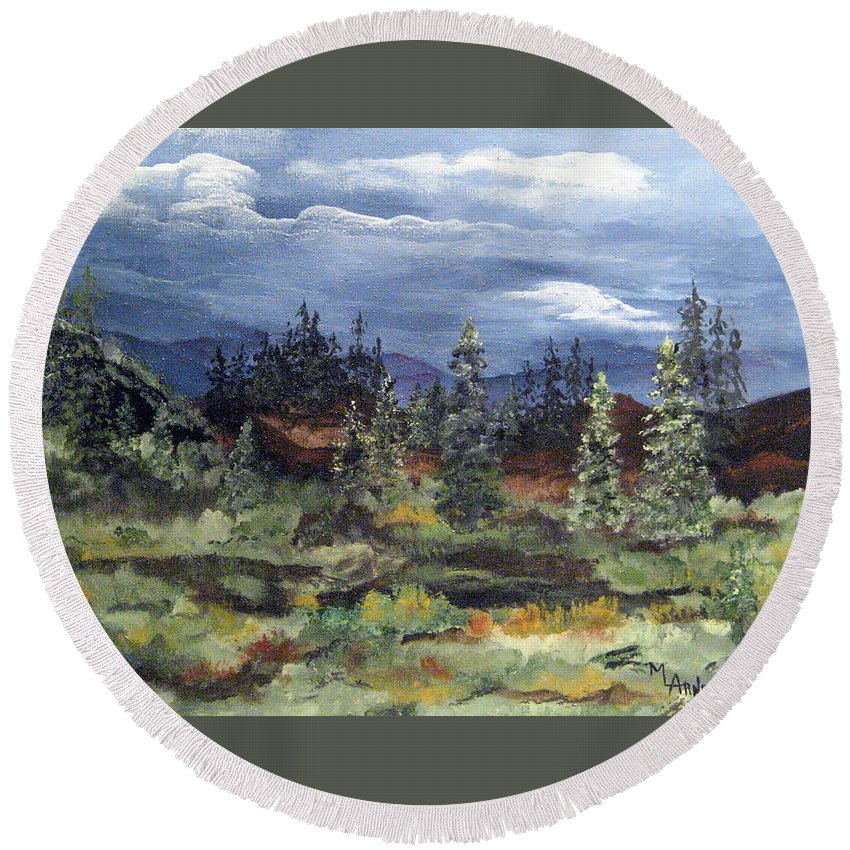 Landscape Round Beach Towel featuring the painting Colorado Skies by Mary Arneson