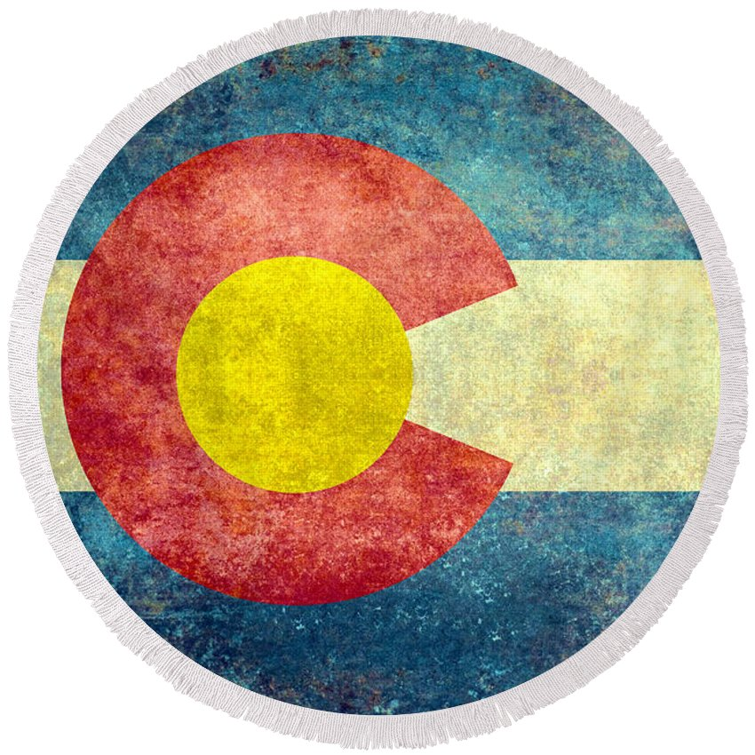 Usa Round Beach Towel featuring the digital art Colorado State Flag by Bruce Stanfield
