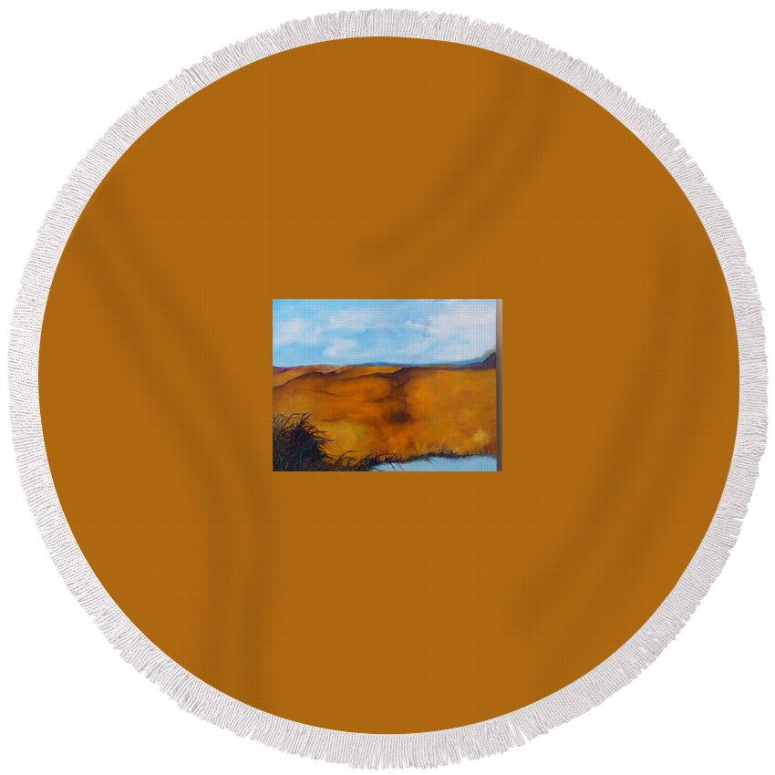 Lyle Round Beach Towel featuring the painting Colorado Summer 2 by Lord Frederick Lyle Morris - Disabled Veteran