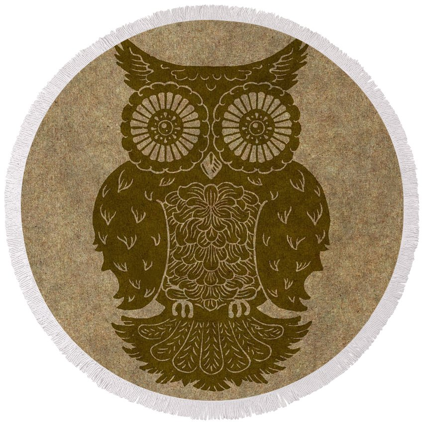 Owl Round Beach Towel featuring the painting Colored Owl 3 Of 4 by Kyle Wood