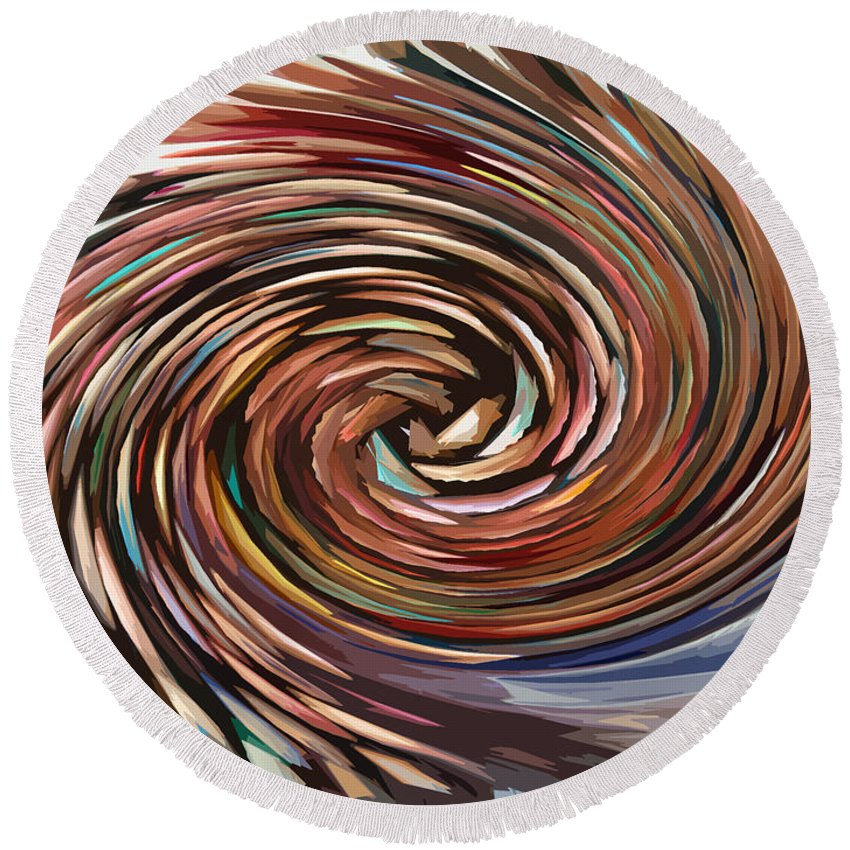 Abstract Round Beach Towel featuring the digital art Colored Pencil Rose by William Tasker
