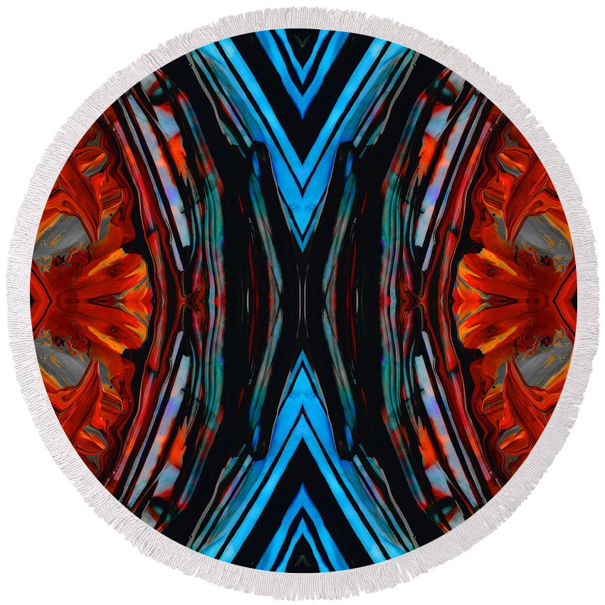 Blue Diamond Round Beach Towel featuring the painting Colorful Abstract Art - Expanding Energy - By Sharon Cummings by Sharon Cummings