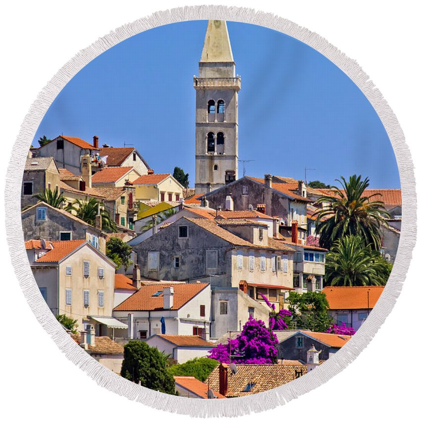 Croatia Round Beach Towel featuring the photograph Colorful Adriatic Town Of Losinj by Brch Photography