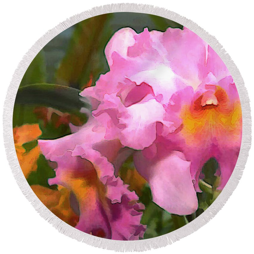 Orchid Round Beach Towel featuring the painting Colorful Assorted Cattleya Orchids by Elaine Plesser