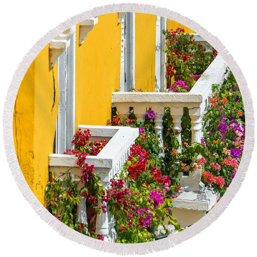 Cartagena Round Beach Towel featuring the photograph Colorful Balconies by Jess Kraft
