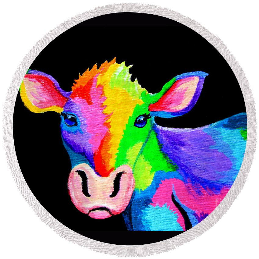 Cow Round Beach Towel featuring the painting Colorful Cow-cow-a-bunga by Nick Gustafson