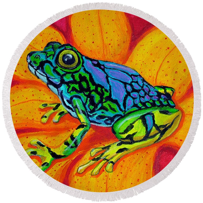Frog Round Beach Towel featuring the painting Colorful Frog by Nick Gustafson
