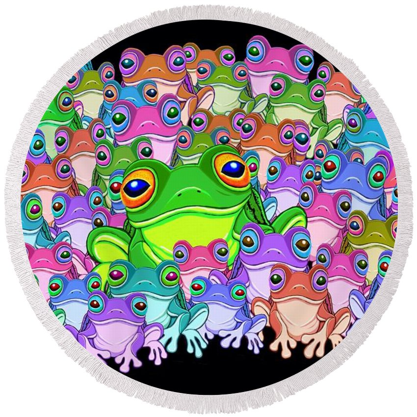 Frogs Round Beach Towel featuring the painting Colorful Froggy Family by Nick Gustafson
