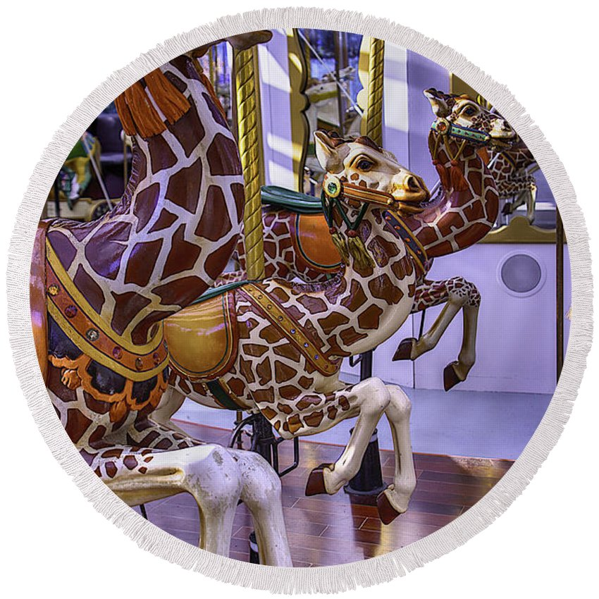 Giraffe Round Beach Towel featuring the photograph Colorful Giraffes Carrousel by Garry Gay