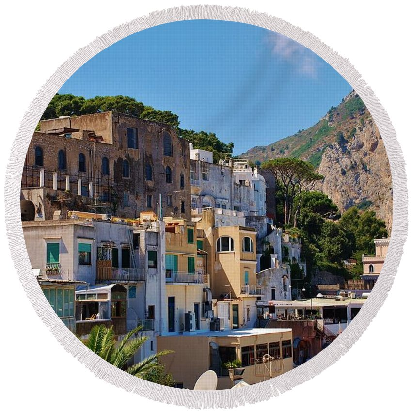 Capri Round Beach Towel featuring the photograph Colorful Houses In Capri by Dany Lison