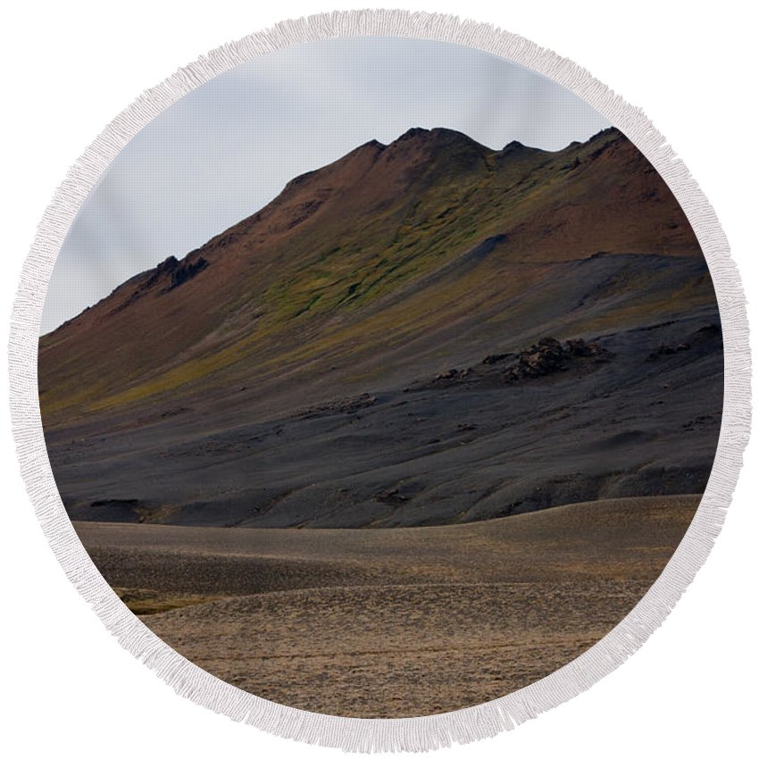 Iceland Round Beach Towel featuring the photograph Colorful Icelandic Mountain by Anthony Doudt